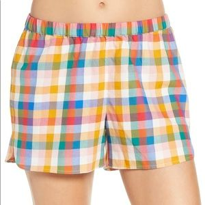 Madewell PJ Shorts Rainbow Plaid Size XS